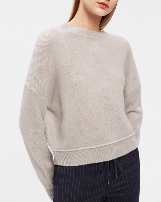 Cropped Lambswool Pullover Off White