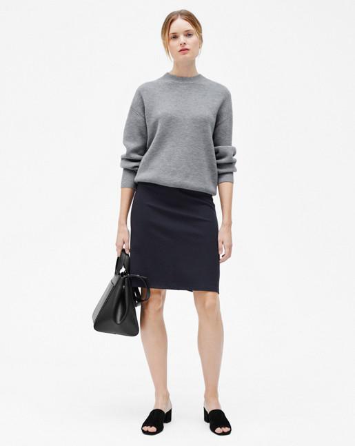 Wool/Cashmere Rib Pullover Grey Mel