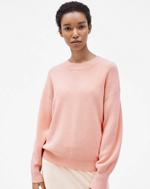 Wool/Cashmere Rib Pullover Tearose