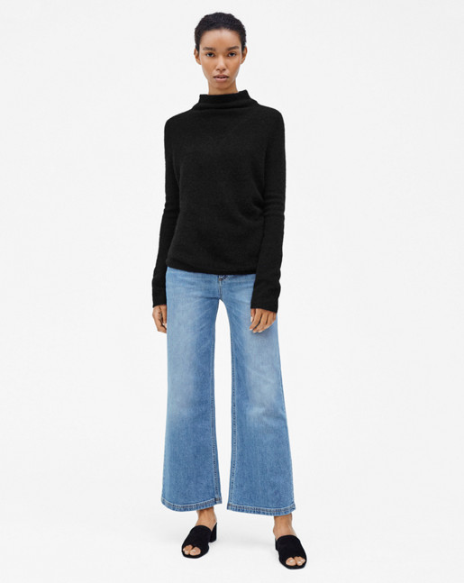 Mohair Mock Neck Pullover Black