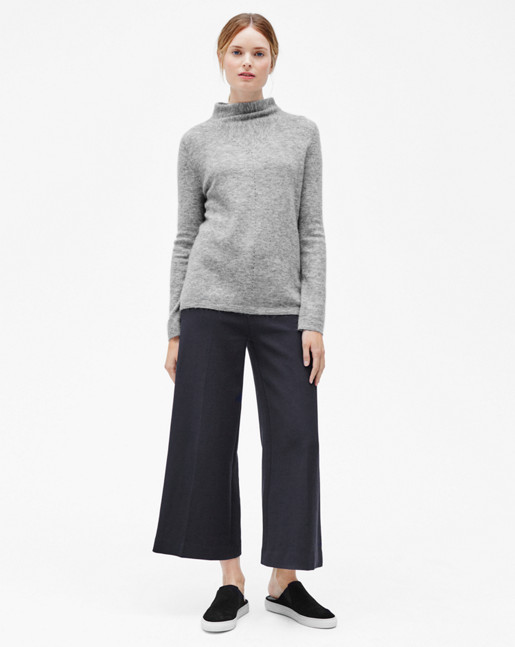Mohair Mock Neck Pullover Light Grey