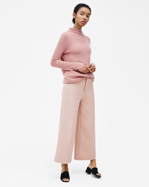 Mohair Mock Neck Pullover Rose