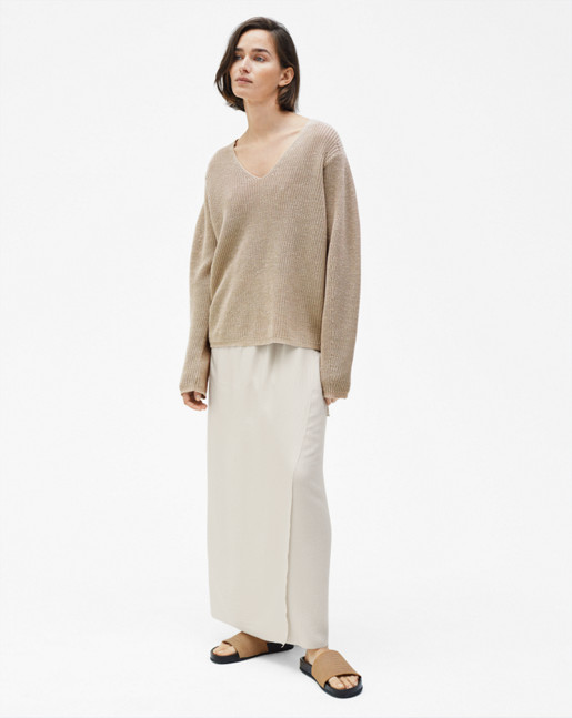 Linen V-neck Sweater Hemp