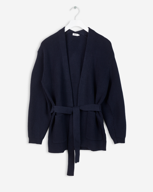 Sculptural Cotton Cardi Navy
