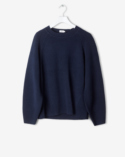 Sculptural Cotton Sweater Navy