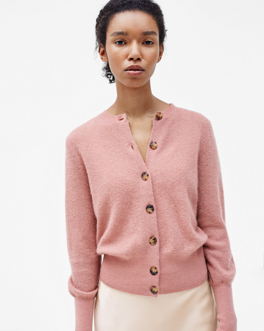 Mohair Short Cardigan Rose