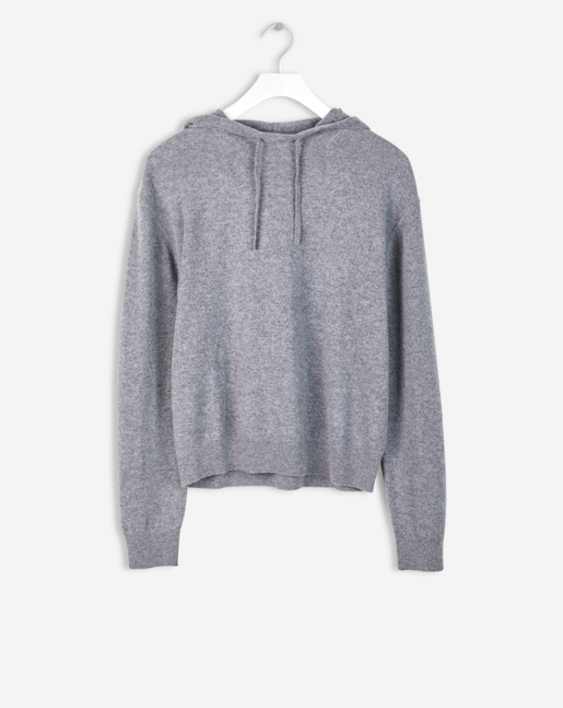 Cashmere Hood Sweater Grey Melange