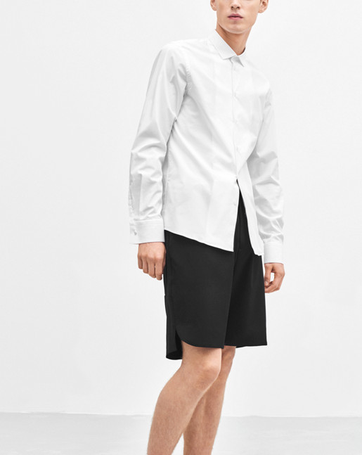 Paul Cut Away Stretch Shirt White