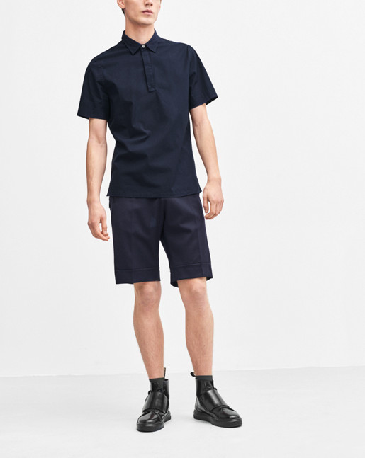 Peter Poplin Polo Shirt Navy