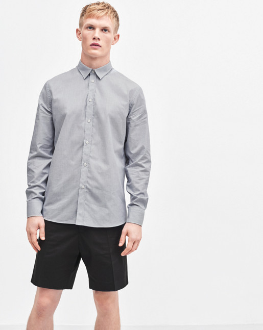 Peter Silk Nep Shirt Light Grey