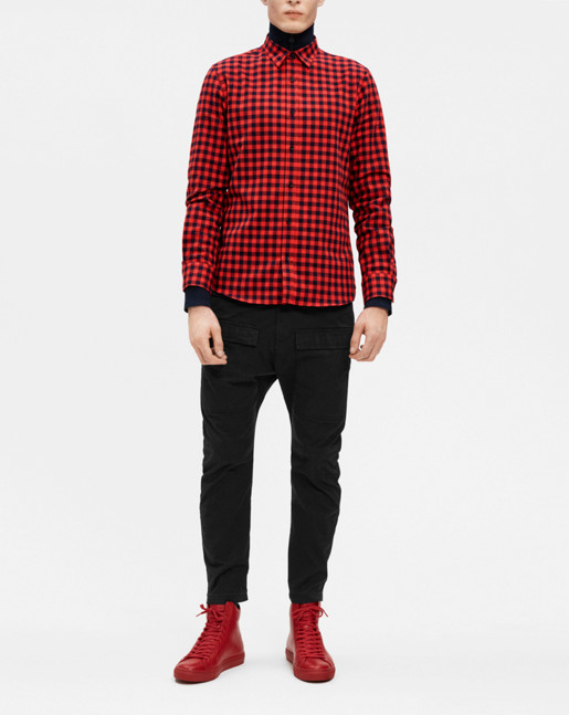 Pierre Check Shirt Navy/Fierce