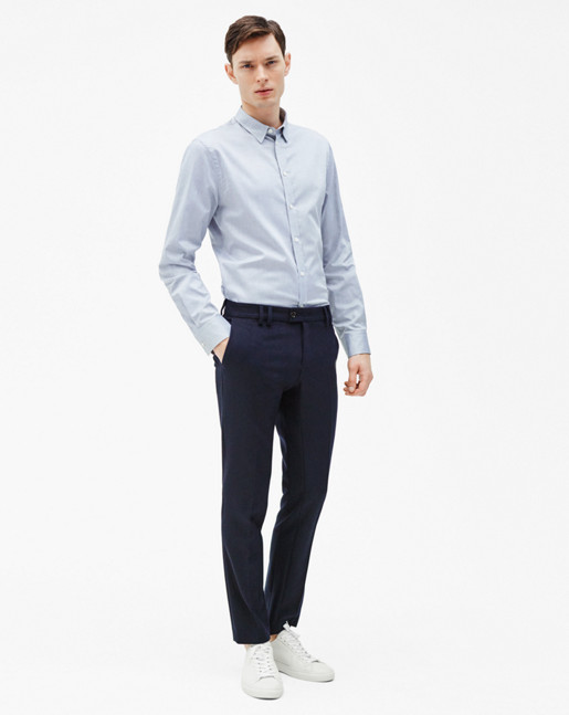 Pierre Light Oxford Shirt Navy Mel