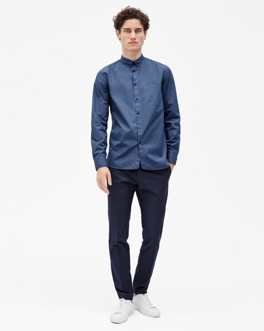 Peter Washed Poplin Shirt Coastal