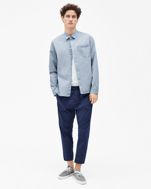 Heath Cotton Shirt White/Navy