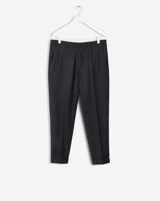 Terry Gabardine Cropped Pants Black