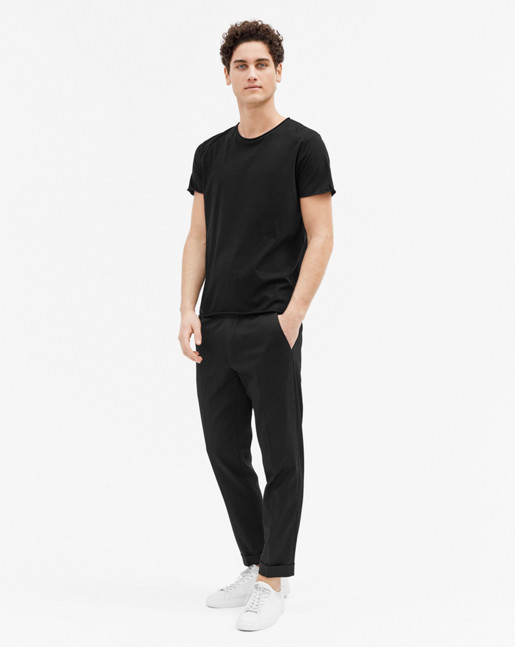Terry Gabardine Cropped Trousers Black