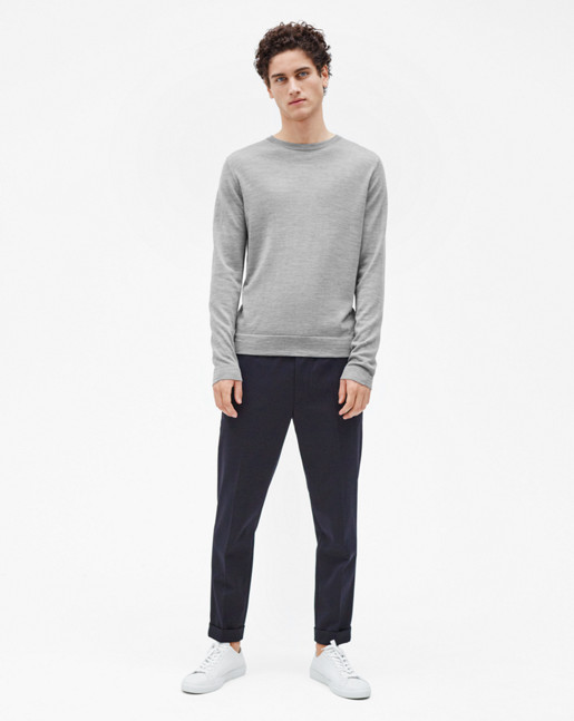 Terry Gabardine Cropped Trousers Navy
