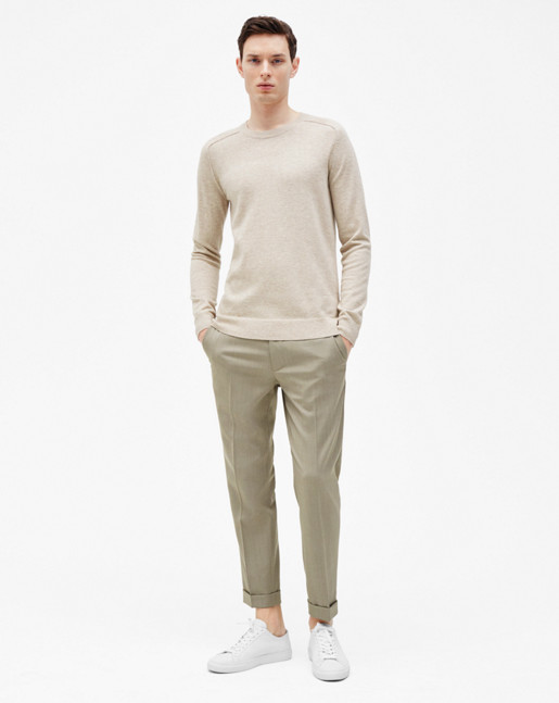 Terry Gabardine Cropped Trousers Olive Melange