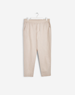 Terry Cropped Cotton Pants Silver Beige