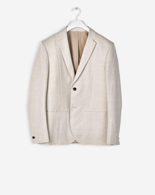 Rick Linen Jacket Silver Beige