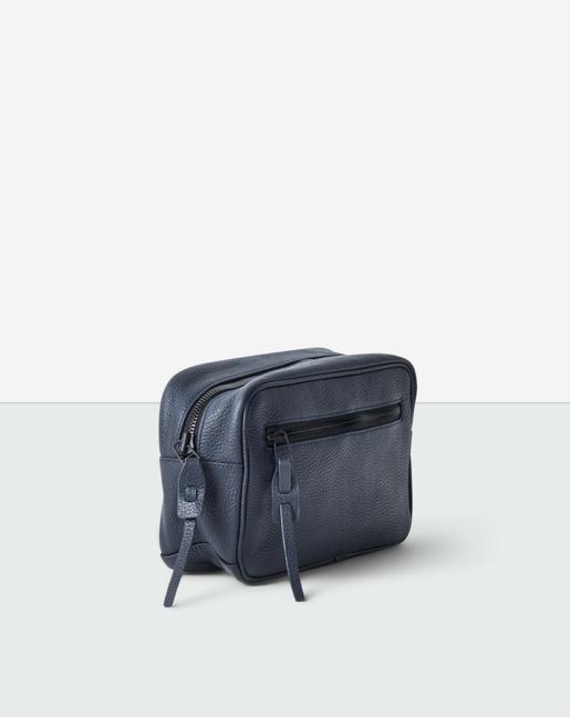 Leather Wash Bag Navy