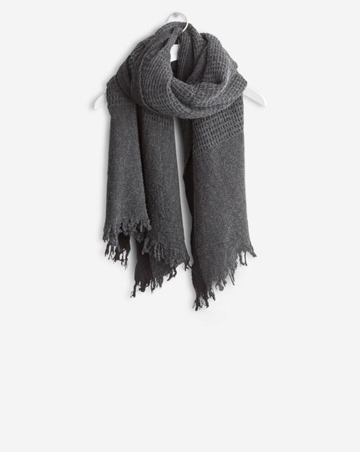 Boiled Wool Scarf Dark Grey