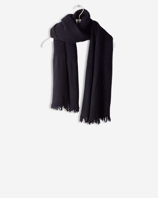 Boiled Wool Scarf Navy
