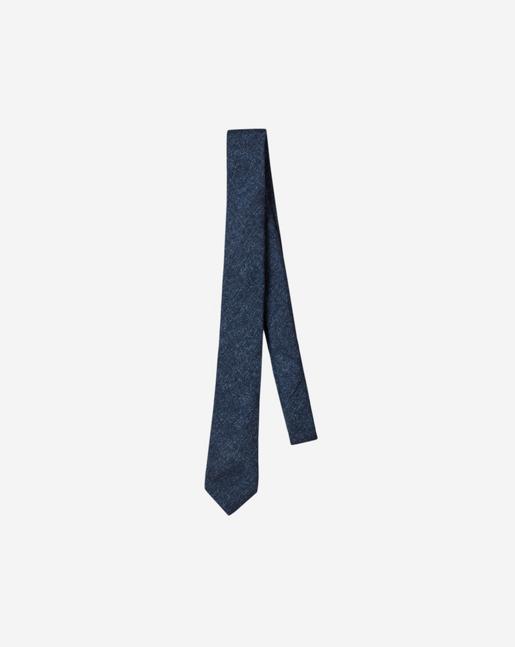 Wool Flannel Tie Navy Mel.