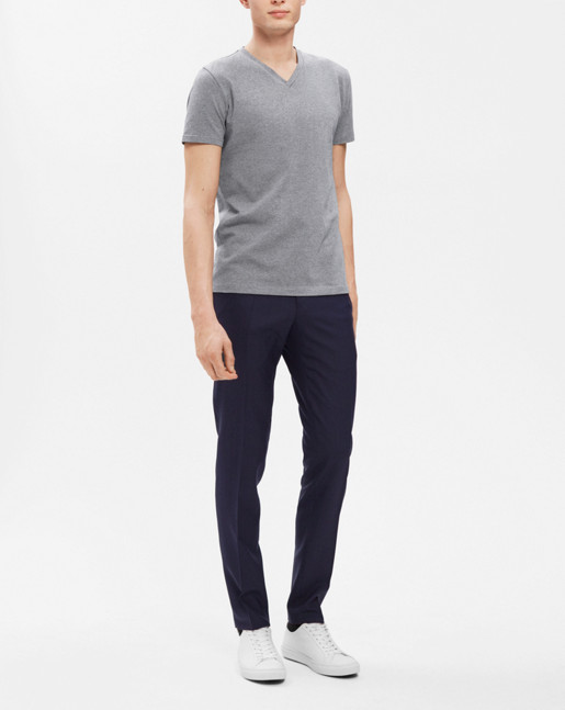 Soft Lycra V-Neck Grey Mel.