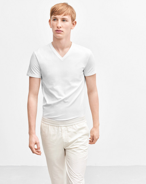 Soft Lycra V-Neck White