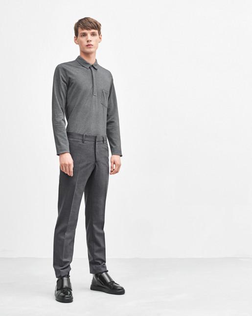 Soft Lycra Poloshirt Grey Melange