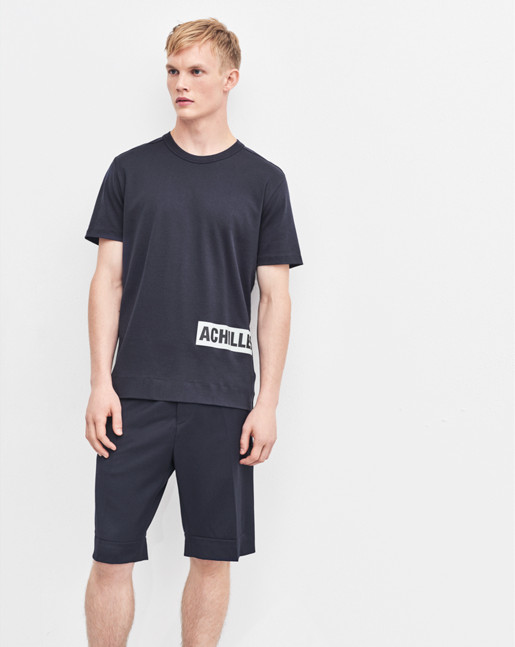 Adrian Cotton Interlock Tee Navy