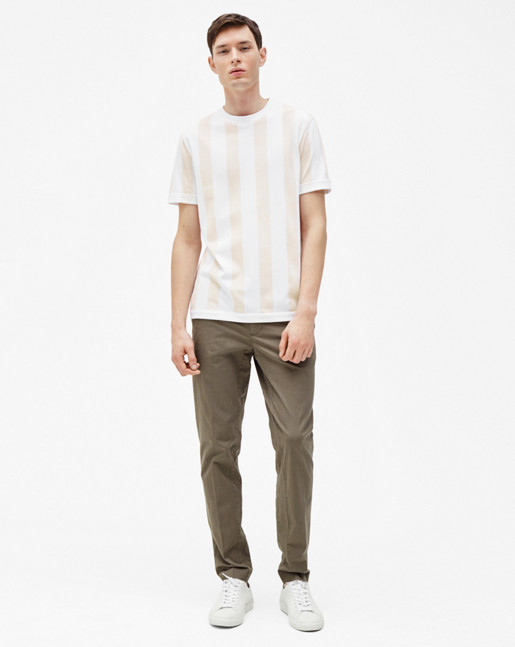 Adrian Stripe Tee White/Off White
