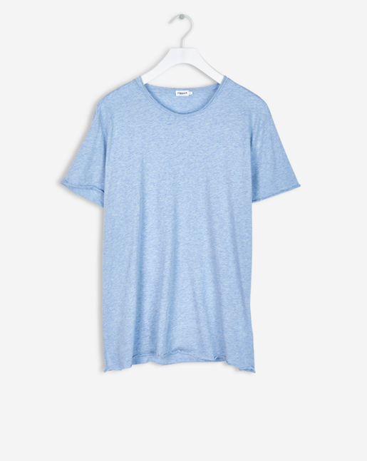 Roll Neck Melange Tee Light Blue Melange