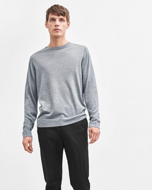 Fine Merino R-Neck Grey Melange