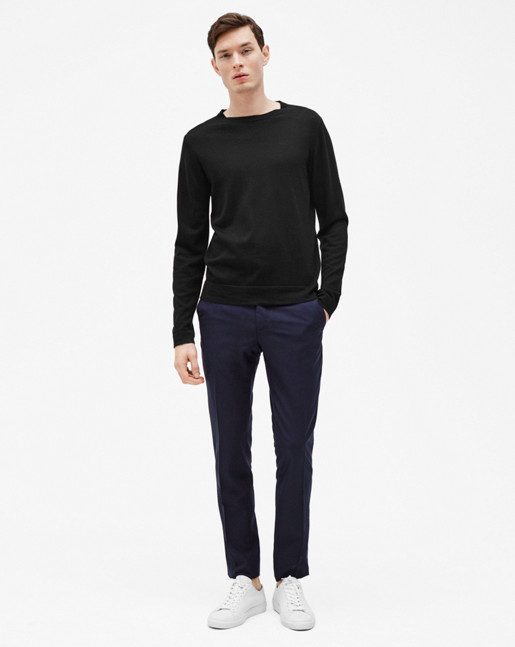 Fine Merino R-Neck Sweater Black