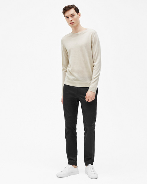 Fine Merino R-Neck Sweater Coin Melange