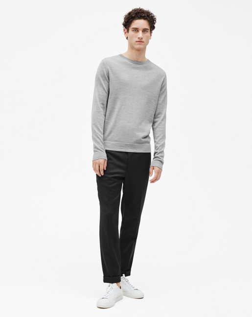 Fine Merino R-Neck Sweater Grey Melange