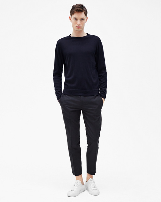 Fine Merino R-Neck Sweater Navy