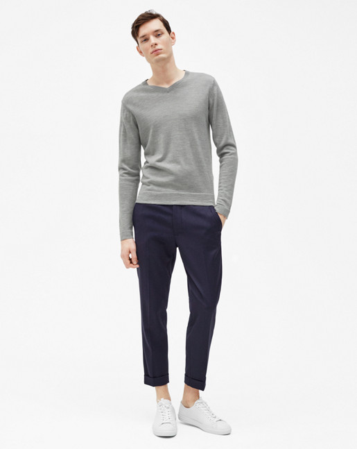 Fine Merino V-Neck Sweater Grey Melange