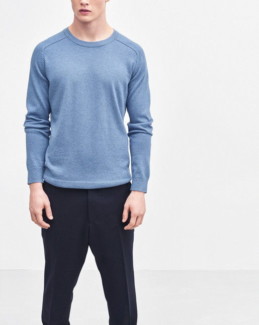 Cotton Merino Sweater Light Blue