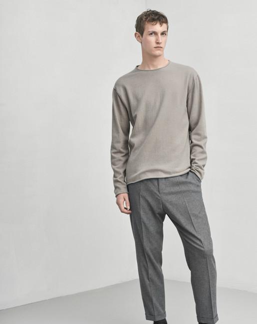 Cotton Cashmere R-Neck Chert Grey
