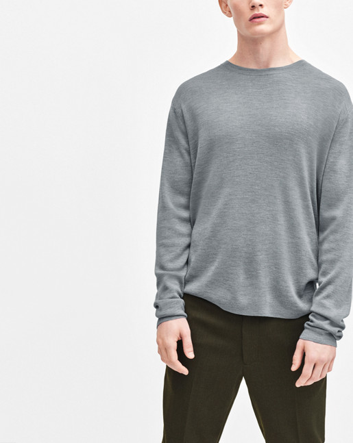 Fine Merino Ribbed Roundneck Grey