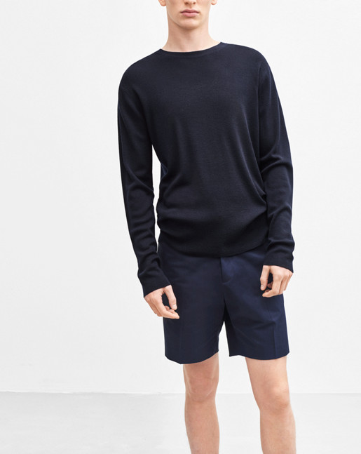 Fine Merino Ribbed Roundneck Navy