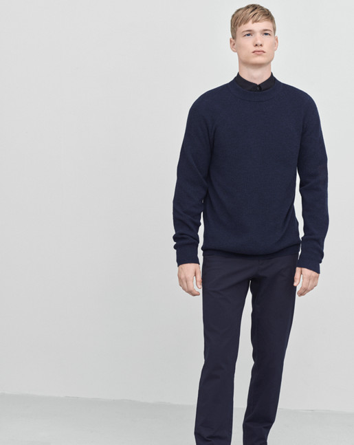 Wool Linen Rib Sweater Navy