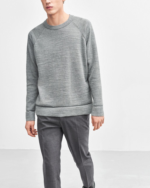 Slub Knit Sweatshirt Grey