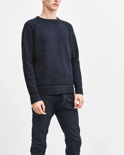 Slub Knit Sweatshirt Navy
