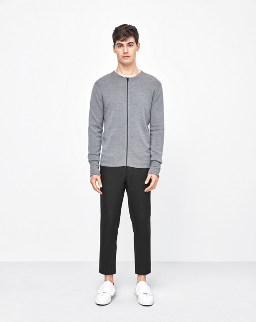 Ribbed Merino Zip Jacket Grey Melange