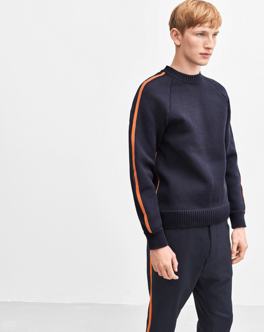 Chunky Sweater Navy/Orange