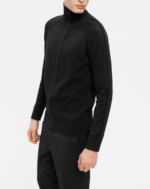 Cotton Merino Zip Jkt Black